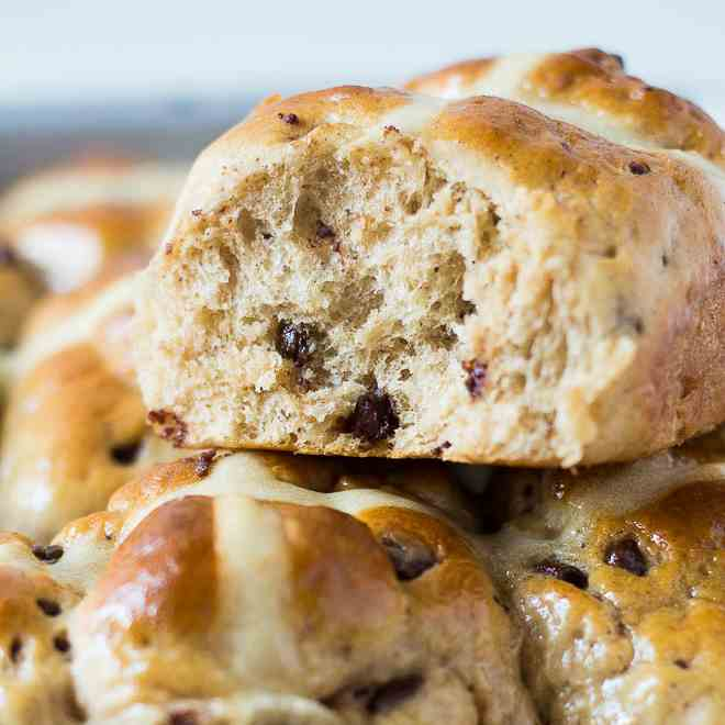 Chocolate and Orange Hot Cross Buns