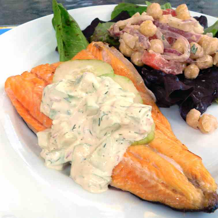 Grilled Arctic Char with Creamy Cucumber A
