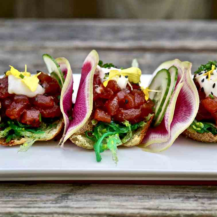 Tuna Poke Potato Skins