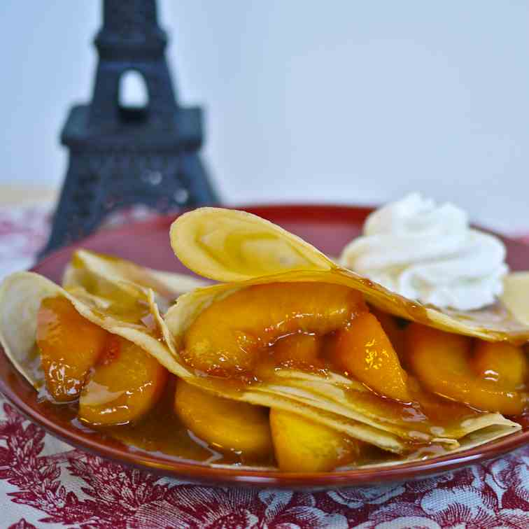 Caramelized Peach and Ginger Crepes