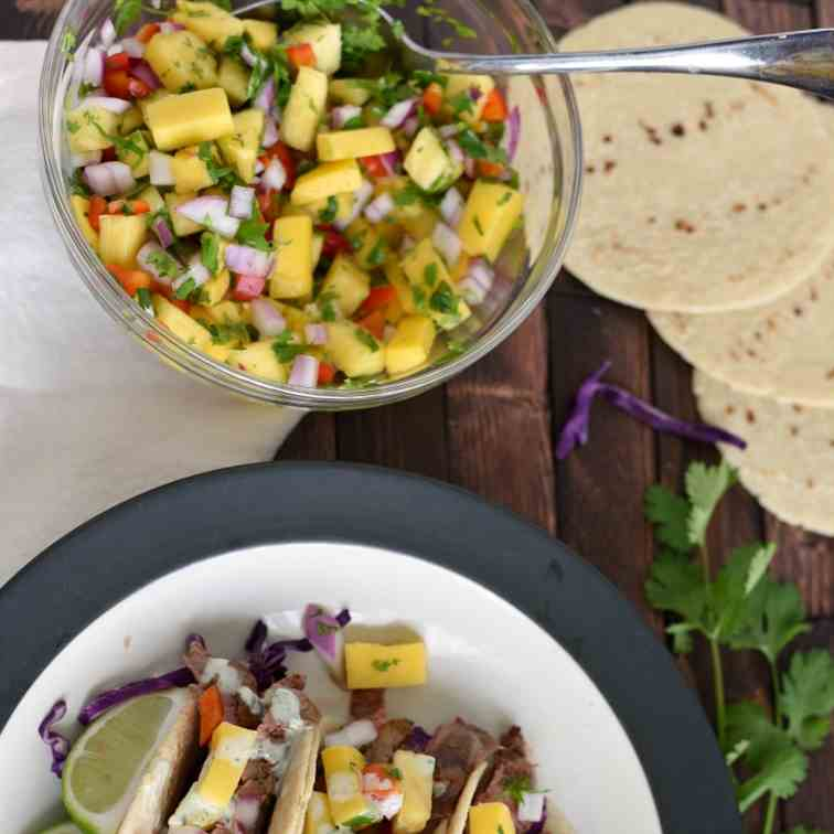 Flank Steak Tacos with Pineapple-Mango Sal