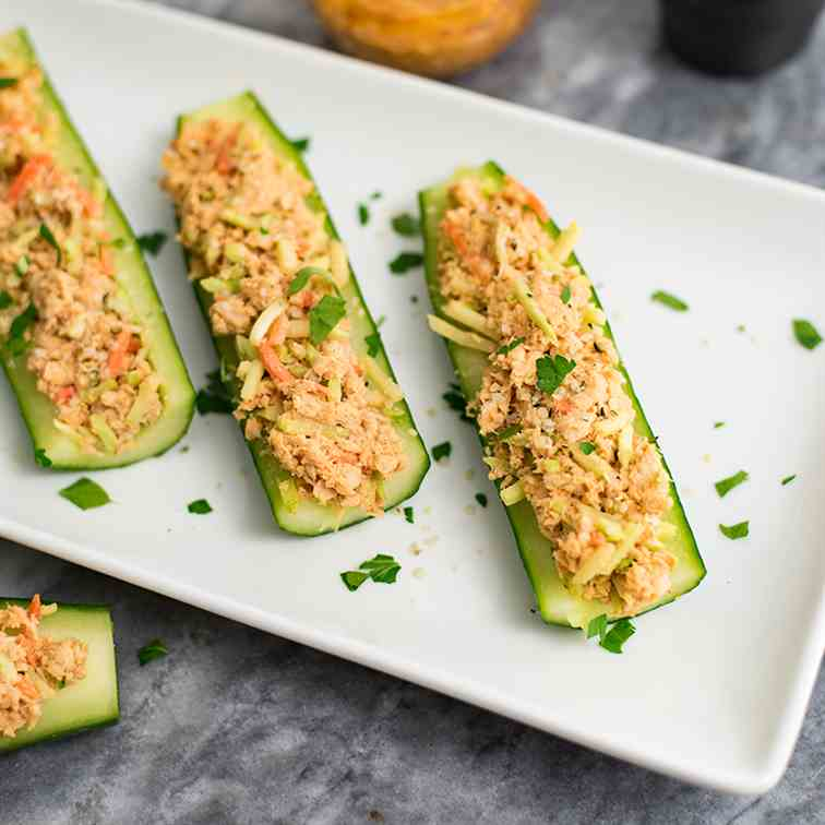 Buffalo Salmon Cucumber Boats