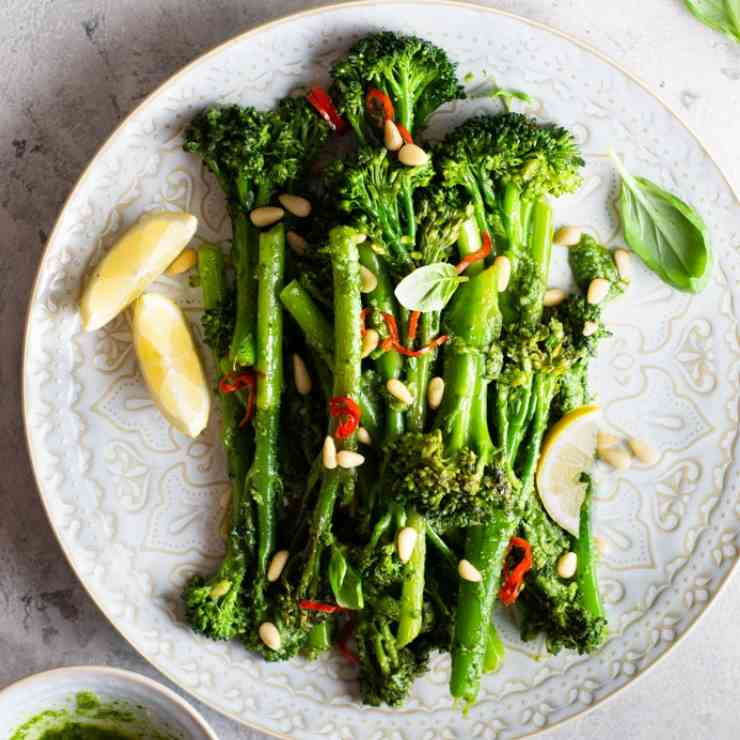 Broccolini with Pesto, Pine Nuts - Chilli