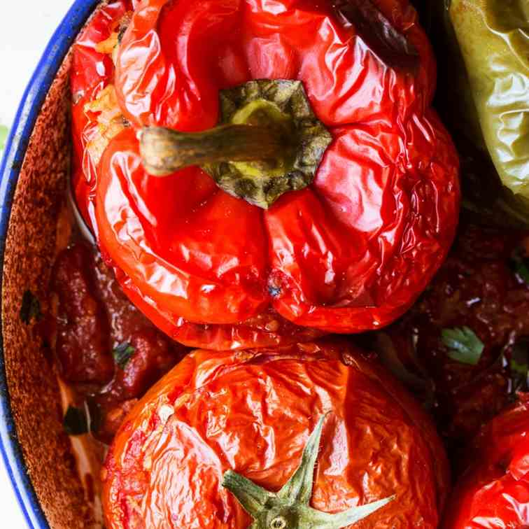 Yemista Greek stuffed peppers and tomatoes