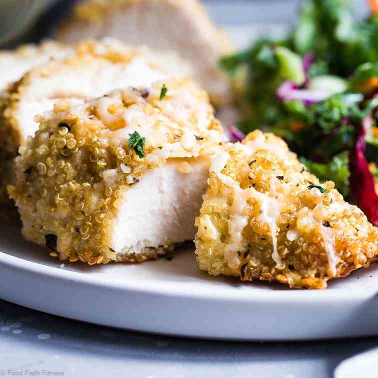 Goat Cheese Quinoa Crusted Chicken