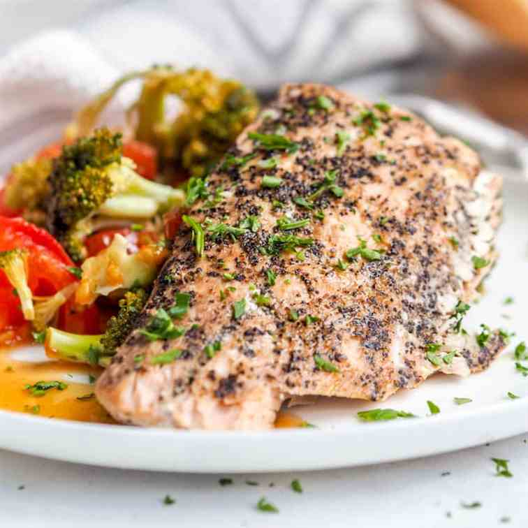 Oven Roasted Salmon with Veggies