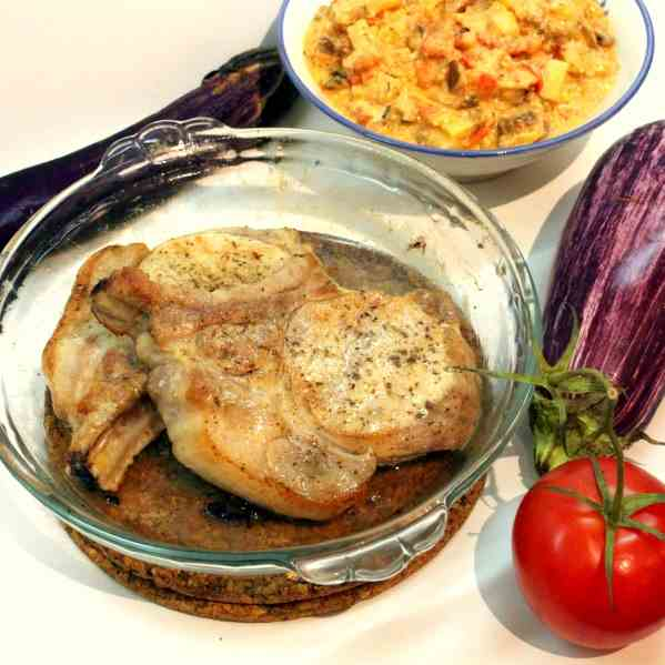 Pork Chops with Eggplants
