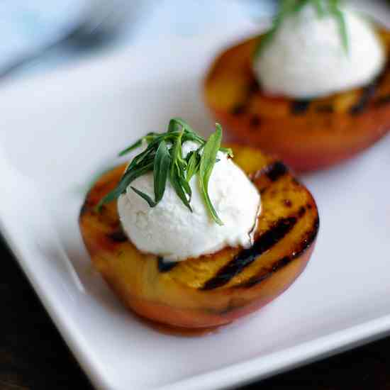 Honey Grilled Peaches w/ Chevre