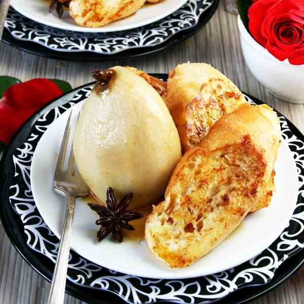 Brandy Poached Pears French Toast