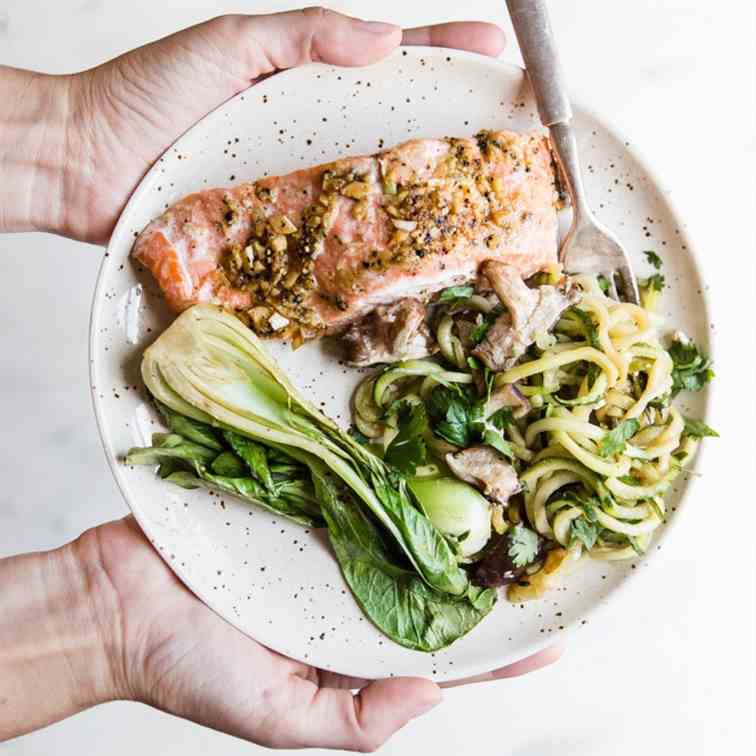 30 Minute Garlic Ginger Salmon Dinner