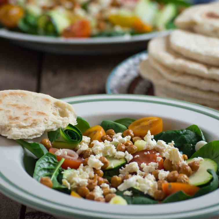 Spinach Salad with Crispy Chickpeas