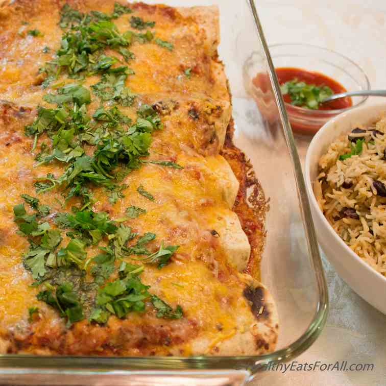 Bean Burrito Enchiladas with Mexican Rice
