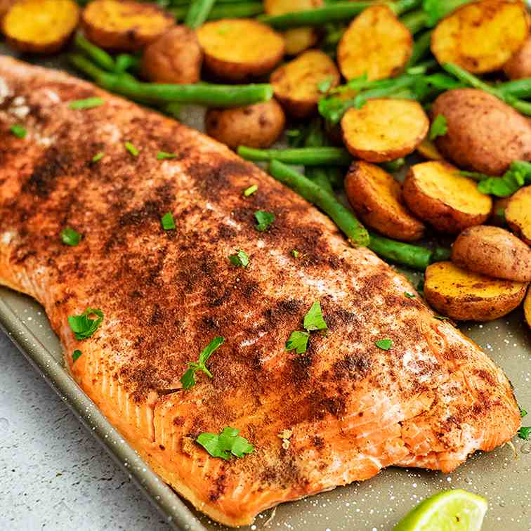 Cajun Salmon Sheet Pan Meal