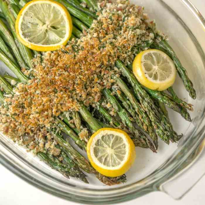 Asparagus with Crispy Bacon Panko Topping