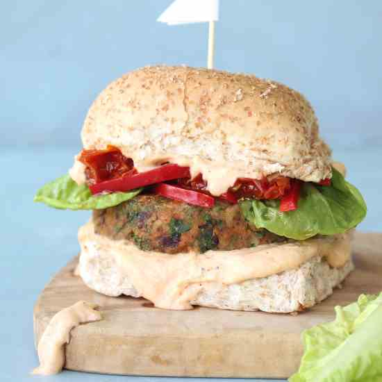Ultimate Chickpea Kale Bean Burgers