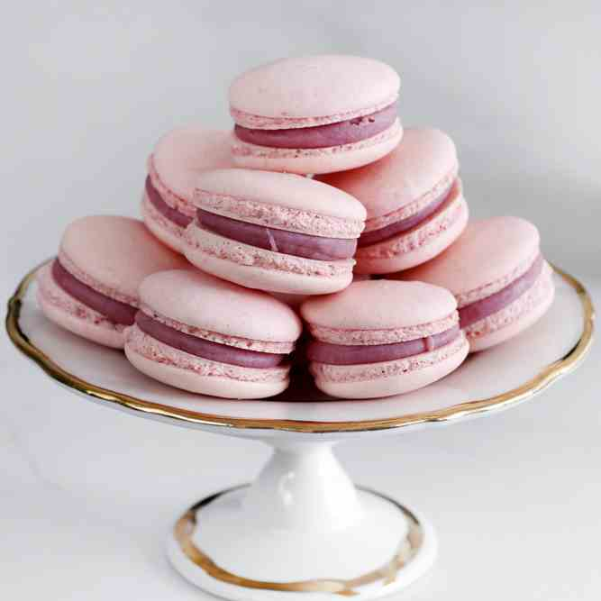 Raspberry Rose Macarons
