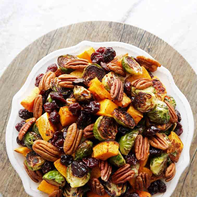 Roasted Butternut Squash - Brussels Sprout