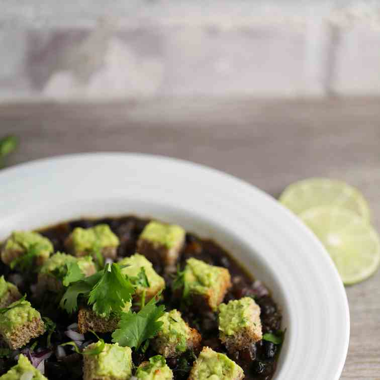 Instant Pot Black Bean Soup with Avocado C