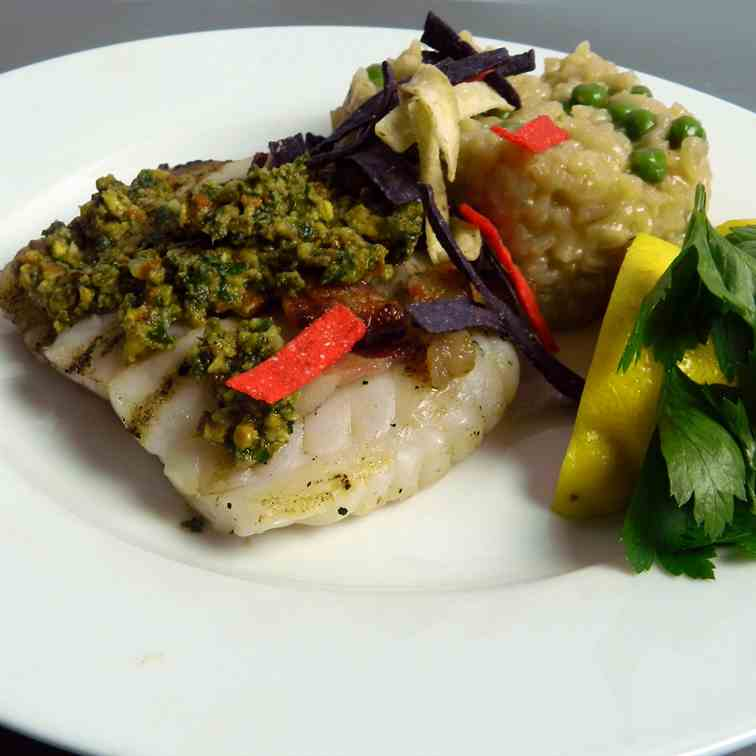 Grilled Grouper with Pistachio Lime Pesto