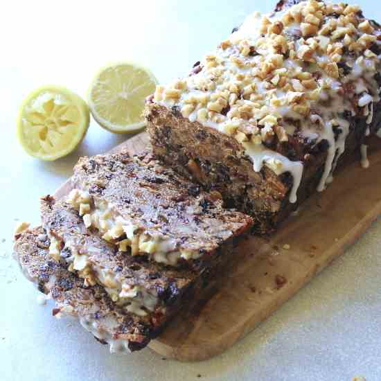 Walnut Fruit Loaf With Lemon Icing