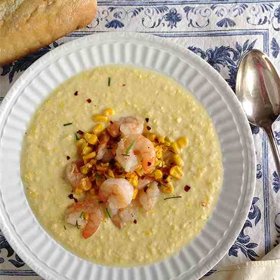 Corn and Potato Chowder with Shrimp