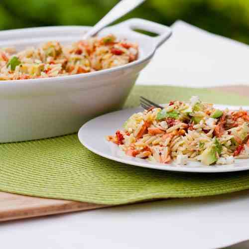 Orzo with Salmon, Sun-Dried Tomatoes