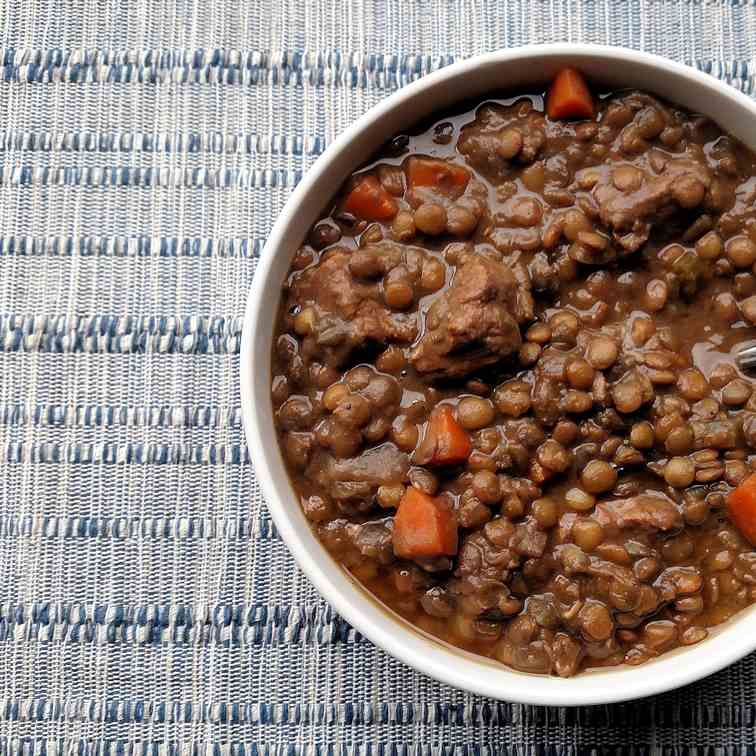 Slow Cooker Beef - Lentil Soup