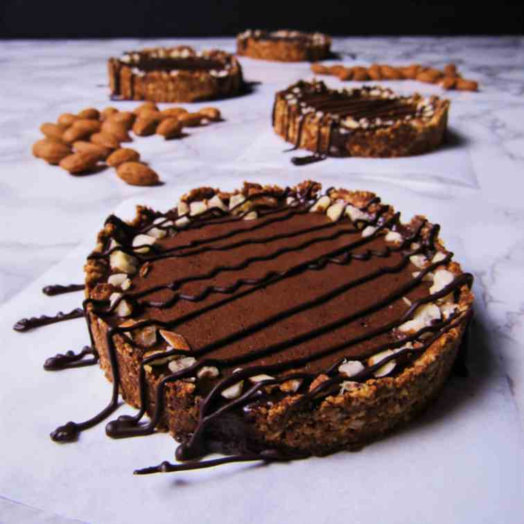 Dark Chocolate Tarts with Almond Crust