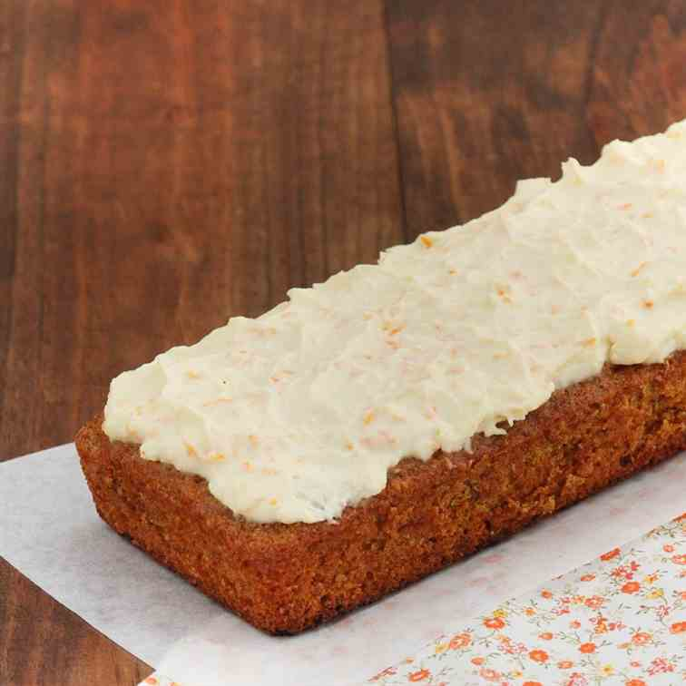 Carrot cake and cream cheese with orange