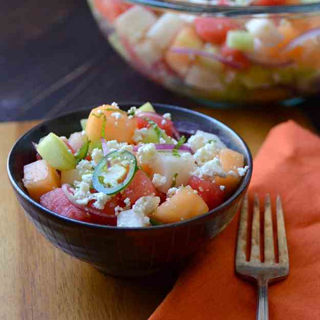 melon, cucumber and jicama salad