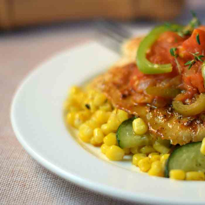 Cajun Spiced Tilapia with Stewed Tomatoes