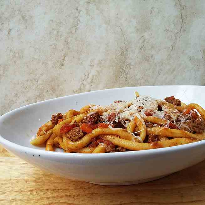 Pici with lamb ragu