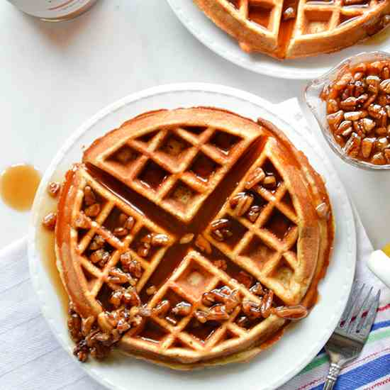 Banana Waffles with Spiced Rum Pecan Syrup