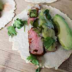 Chipotle Flank Steak Tacos with Salsa