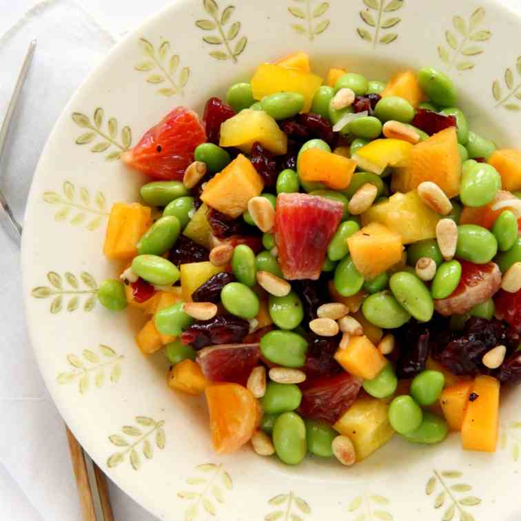 Edamame Salad with Persimmon and Peppers