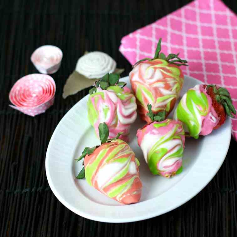 Marbled Chocolate Covered Strawberries