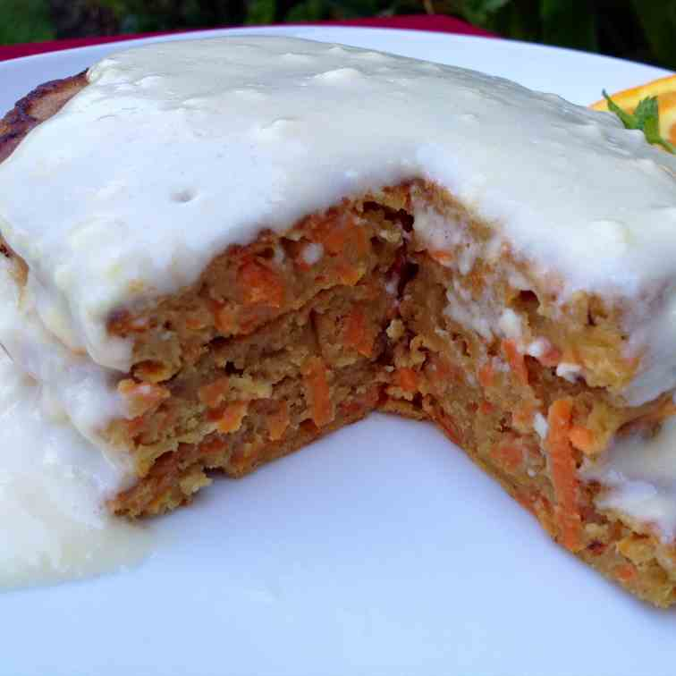 Whole Wheat Carrot Cake Pancakes with Mapl