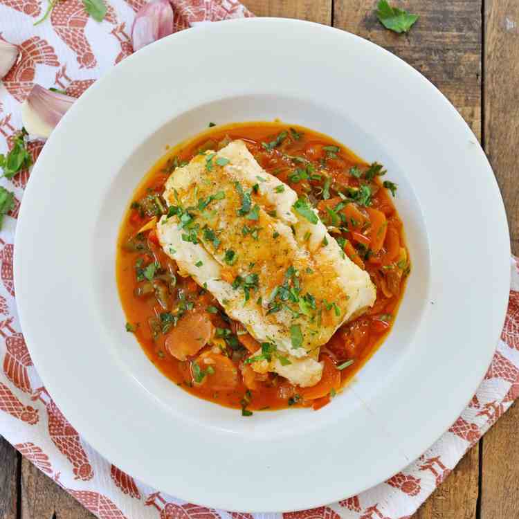 Spicy Braised Spanish Cod with Vegetables