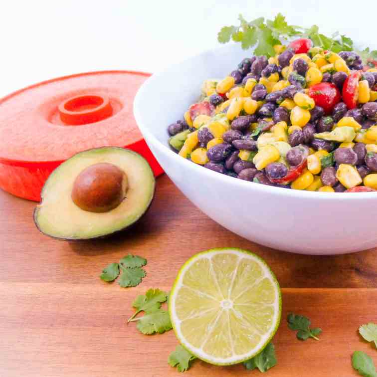 Cilantro Lime Corn Bean & Avocado Salad