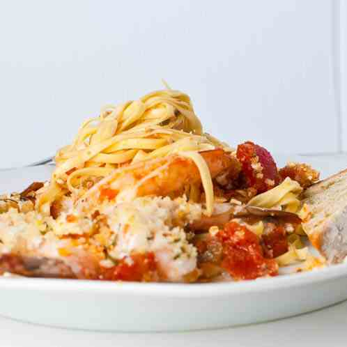 Roasted Shrimp, Tomato, & Feta Pasta
