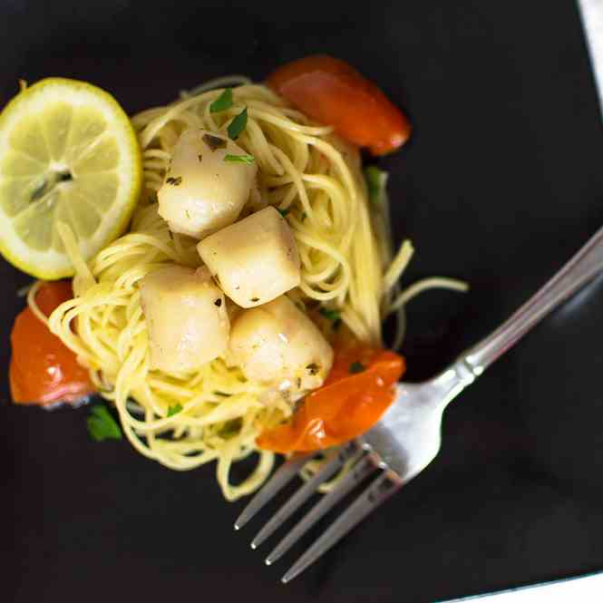 Tomato and Scallop Pasta with a Lemon-Verm
