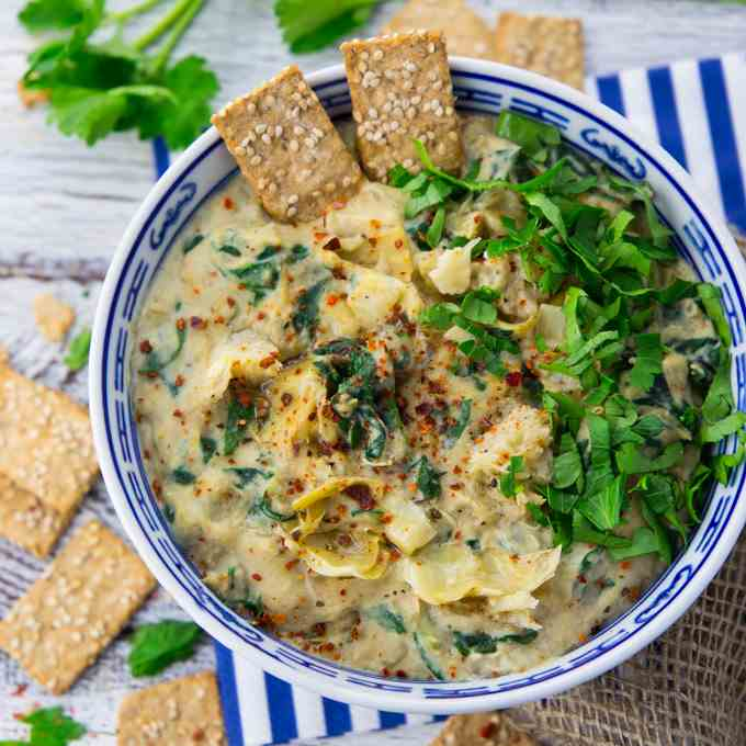 Vegan Spinach Dip with Artichokes