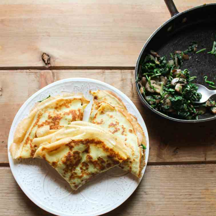 Spinach, Mushroom, and Swiss Crepes