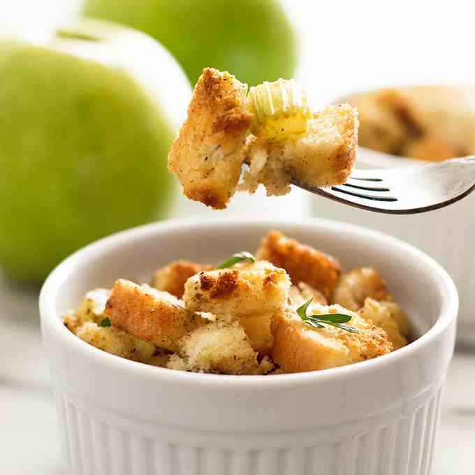 Easy Apple Stuffing for Two