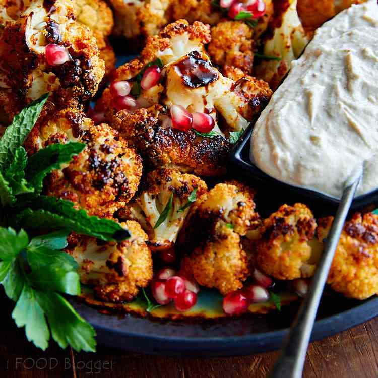 Roasted Cauliflower w- Tahini Sauce