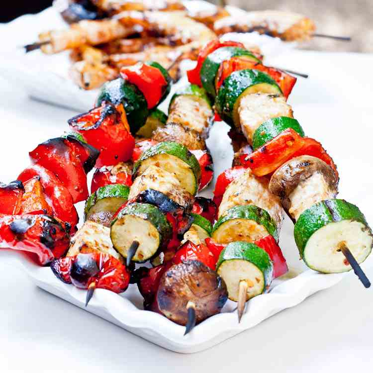 Swordfish and Veggie Kebabs