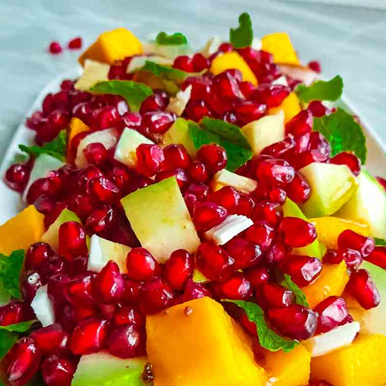 pomegranate salad with mango, coconut and