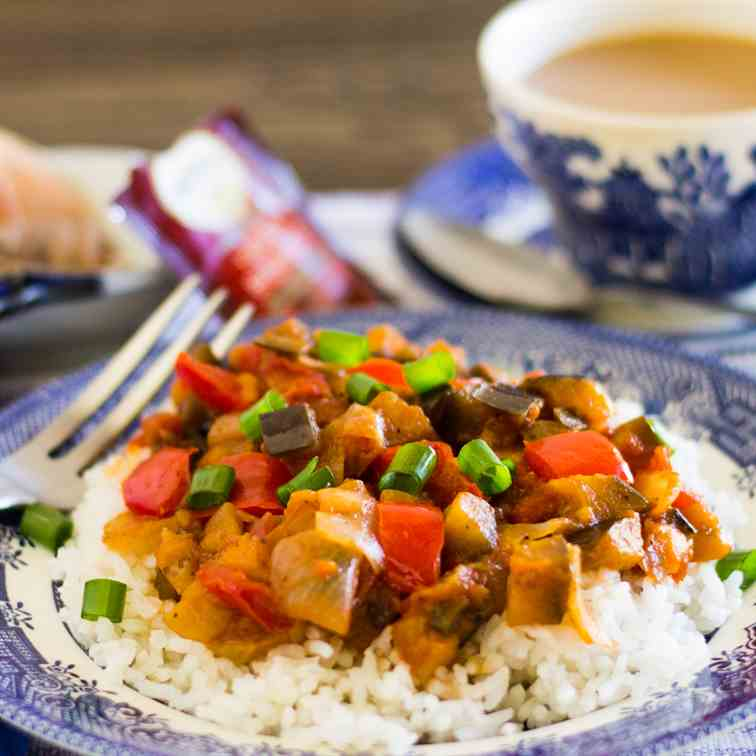 Sweet and Sour Savory Eggplant on Rice