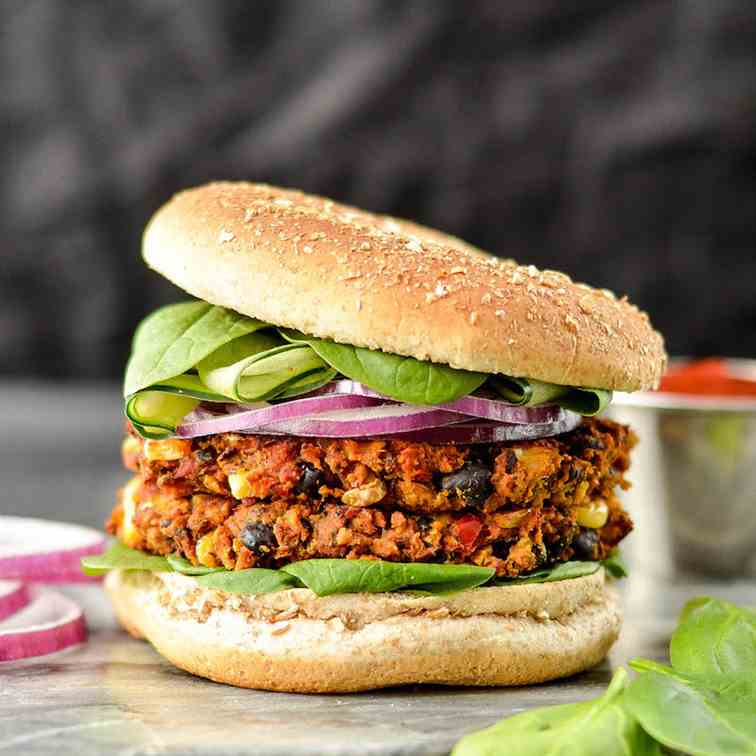 Sweet Potato Black Bean Veggie Burgers