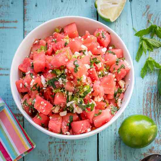 Watermelon Salad with Mint and Jalapeno